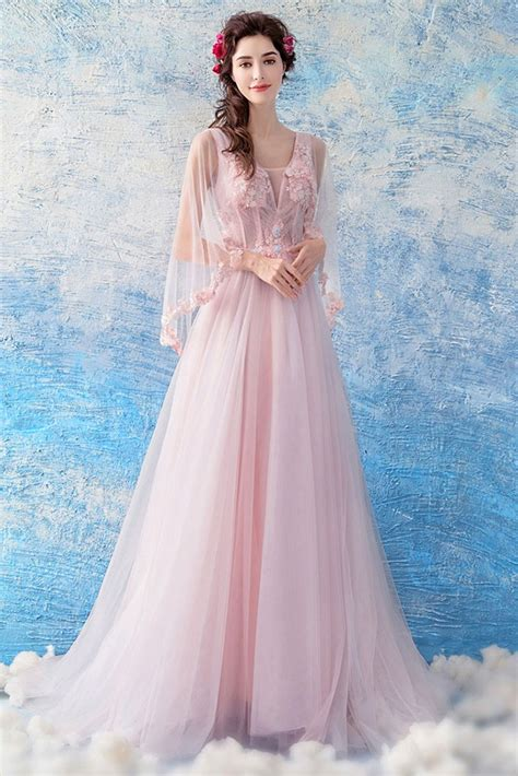 Fairy Pink Tulle Floral Cape Long Prom Dress A Line ...