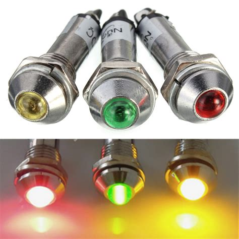 led indicator lights 8mm led dashboard panel indicator warning light bulb l