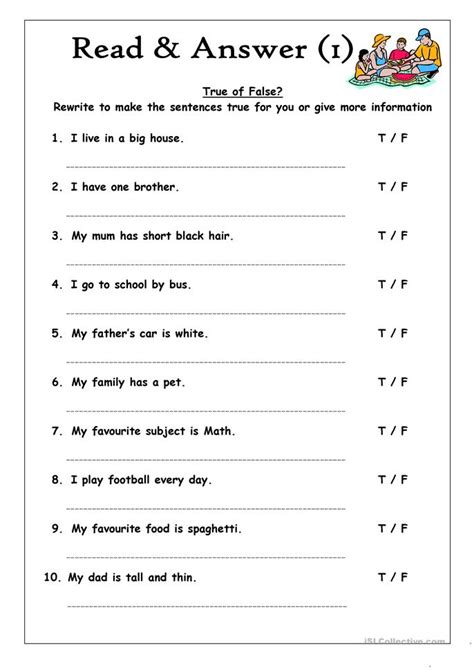 true false worksheets read answer 1 true or false worksheet free esl
