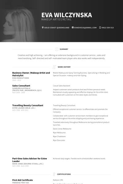 artist resume sles 28 images no experience makeup
