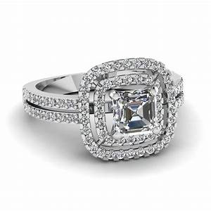 asscher cut square double halo diamond engagement ring in With asscher cut diamond wedding rings