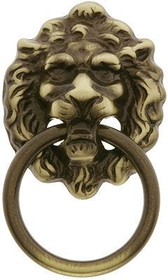 Lion Head Ring Pull In Antique Brass   House of Antique