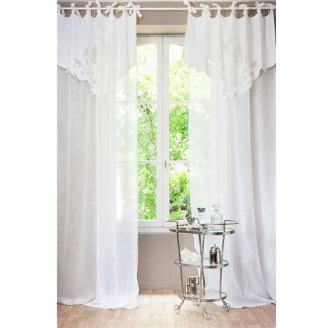 rideau 224 nouettes en lin blanc 140 x 300 cm romance