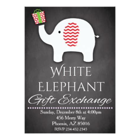 White Elephant Invitations & Announcements  Zazzlecomau. Order Flyers Online. Happy 7th Birthday. Christmas Party Poster. Photography Website Template Free. Cheap Graduation Gifts For Friends. Medical Curriculum Vitae Template. College Graduation Gifts For Men. National Graduate School Of Quality Management