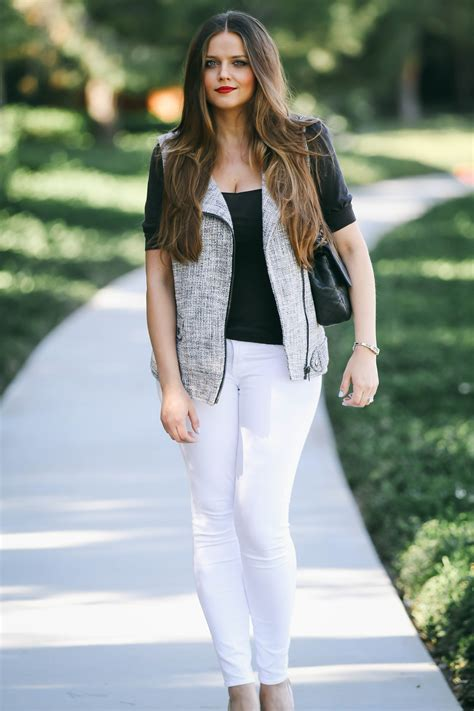 Ootd Tweed Moto Vest White Skinny Jeans A Fashion Beauty