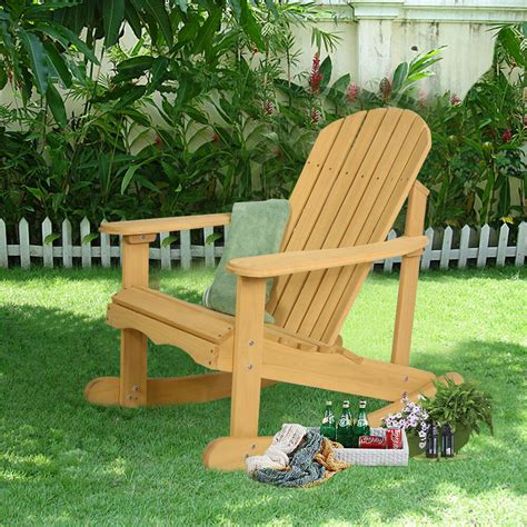 Wooden Outdoor Furniture by Outdoor Fir Wood Adirondack Rocking Chair Patio