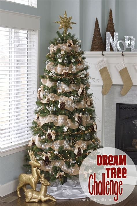 decorating tree with burlap ribbon pine cone bow ornament and other tree challenge