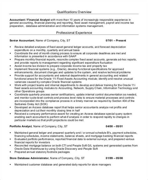 Experienced Cpa Resumes by Printable Accountant Resume Templates 28 Free Word Pdf