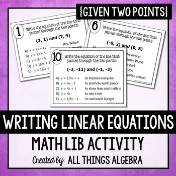 writing linear equations given two points math lib by all things algebra