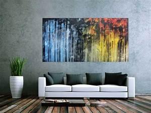 Blau Und Schwarz Kombinieren : abstraktes gem lde sehr ausdrucksstark in blau gelb und schwarz auf leinwand 100x200cm ~ Buech-reservation.com Haus und Dekorationen