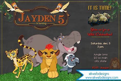 The Lion Guard Birthday Invitation  Disneys The Lion