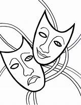 Carnival Gras Mardi Coloring Mask Pages Tragedy Comedy Masks Drawing Easy Printable Theater Cry Cartoon Printables Later Theatre Laugh Sheets sketch template