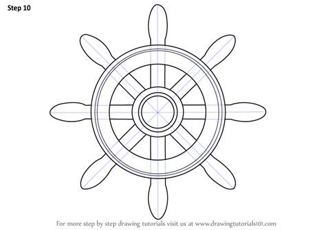 Boat Wheel Outline by Learn How To Draw A Boat Wheel Boats And Ships Step By