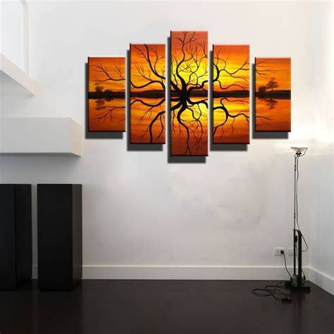 5 canvas wall large abstract modern orange