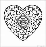 Heart Simple Mandala Pages Coloring sketch template