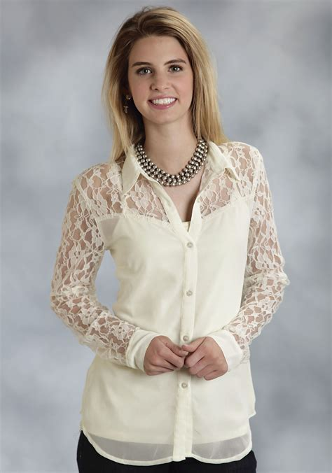 roper ladies cream georgette  lace long sleeve western