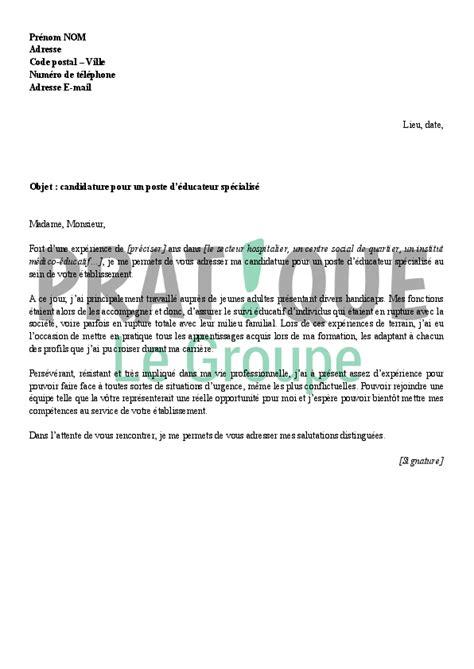 emploi cuisine suisse lettre de motivation pour un emploi d 39 éducateur spécialisé pratique fr