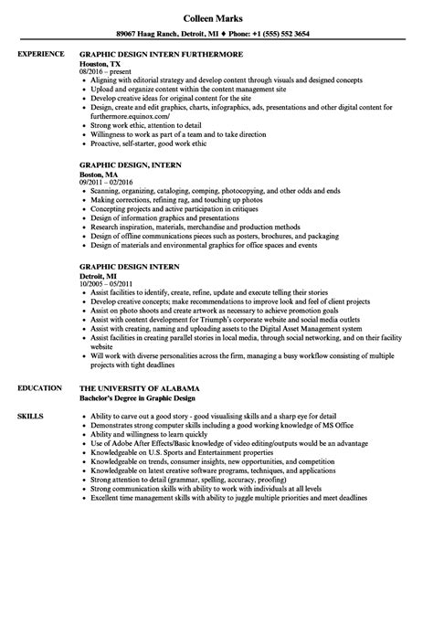 graphic design intern resume sles velvet