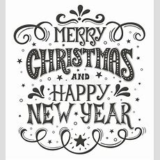 Merry Christmas And Happy New Year Conceptual Handwritten Phrase T Shirt Calligraphic Design