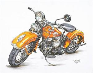1942 Harley Davidson Flathead Drawing by Shannon Watts ...
