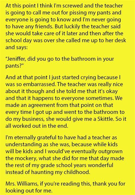 teacher saves girl  embarrassment   wets