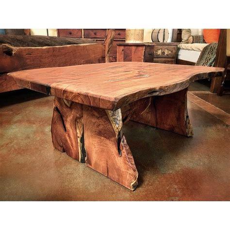 edge mesquite wood coffee table  slab base