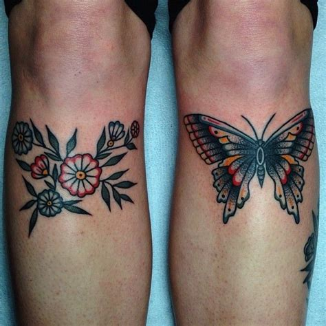 butterfly  flowers tattoo  knees traditional