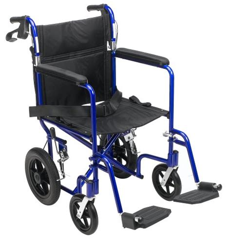 medline transport wheelchair with brakes blue 171 wheel