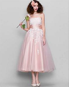 fashionable pink lace wedding dresses tea length tulle With pink tea length wedding dress