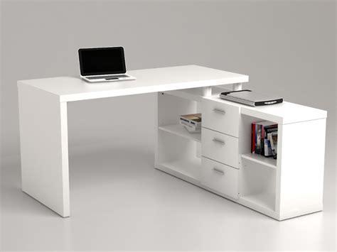bureau vituel bureau d 39 angle aldric iii 3 tiroirs 2 étagères blanc