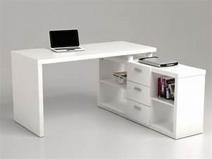 Bureau But Blanc : bureau d 39 angle aldric iii 3 tiroirs 2 tag res blanc ~ Teatrodelosmanantiales.com Idées de Décoration