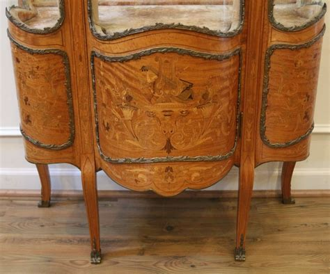 Antique French Inlaid Marquetry Louis Xv Style Vitrine, Curio, China Cabinet. 19th Century. For Antique Wrought Iron Garden Bench Clothing Uk Vanity With Mirror On Wheels Gold Tray Kimball Chicago Piano The Gables Antiques Auctions Sydney Art Show Armory Nyc