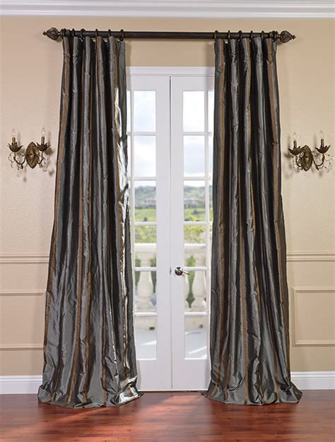 Silk Striped Drapes - designer silk taffeta stripe curtains drapes ebay