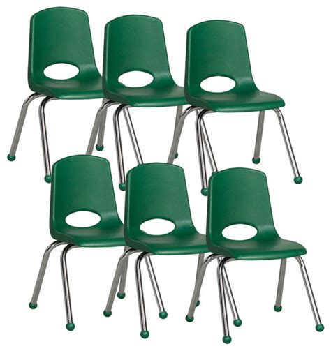 14 quot plastic stack chair with chrome legs 6 pack green