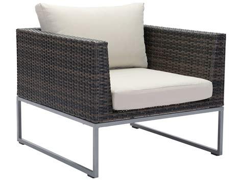 Zuo Outdoor Malibu Aluminum Wicker Arm Chair In Brown