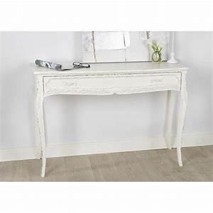 Console Bois Blanc : console tiroir comtesse 120 cm en bois patin blanc ~ Teatrodelosmanantiales.com Idées de Décoration
