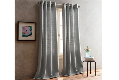 dkny boucle plaid curtains  grey absolute home