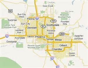 Map of Phoenix AZ and Surrounding Cities