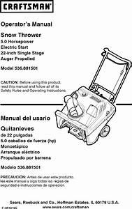 Craftsman 536881501 User Manual 22 Snow Thrower Manuals