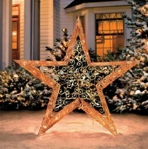 4 foot lighted pre lit gold christmas star outdoor yard