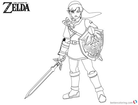 link coloring pages legend of coloring pages link with sword and shield