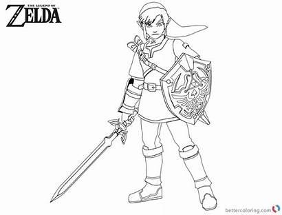 Zelda Coloring Link Legend Sword Shield Printable