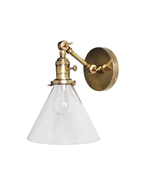 jefferson single arm wall sconce with tapered clear glass