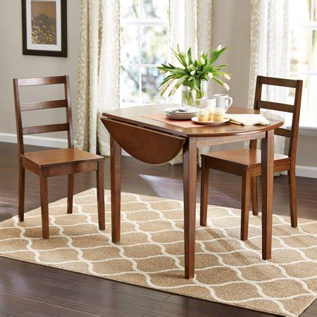 Wood Dining Sets With Leaf by Mainstays 3 Drop Leaf Dining Set Medium Oak Finish