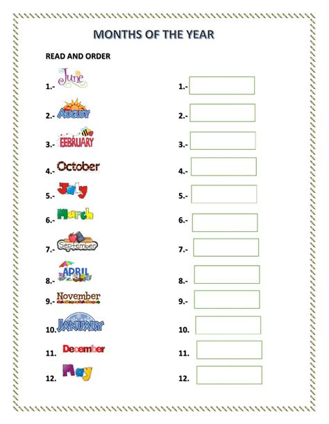 months of the year interactive worksheet