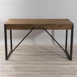 Bureau Bois Metal : bureau 2 tiroirs bois et m tal dpi import ~ Teatrodelosmanantiales.com Idées de Décoration
