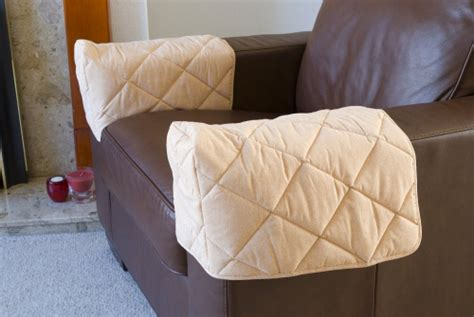 Pair Of Quilted Arm Chair Protectors Furniture Covers Sofa