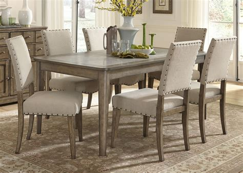 casual rustic 7 dining table and chairs set by