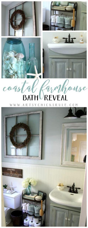 coastal farmhouse bath reveal   makeover details