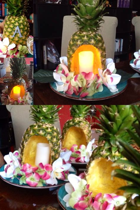 homemade pineapple centerpieces  luau themed party